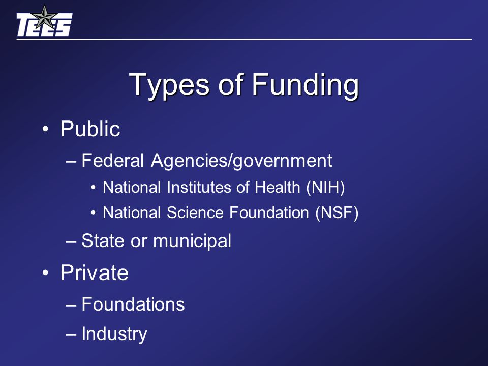 Types of Funding Public –Federal Agencies/government National Institutes of Health (NIH) National Science Foundation (NSF) –State or municipal Private –Foundations –Industry