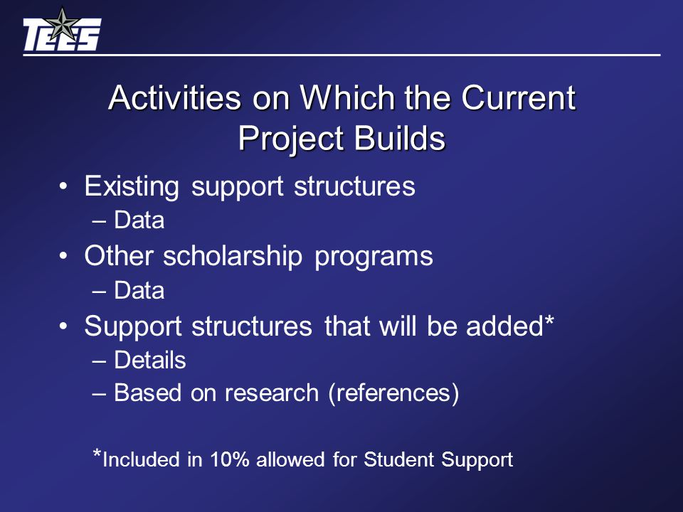 Activities on Which the Current Project Builds Existing support structures –Data Other scholarship programs –Data Support structures that will be added* –Details –Based on research (references) * Included in 10% allowed for Student Support