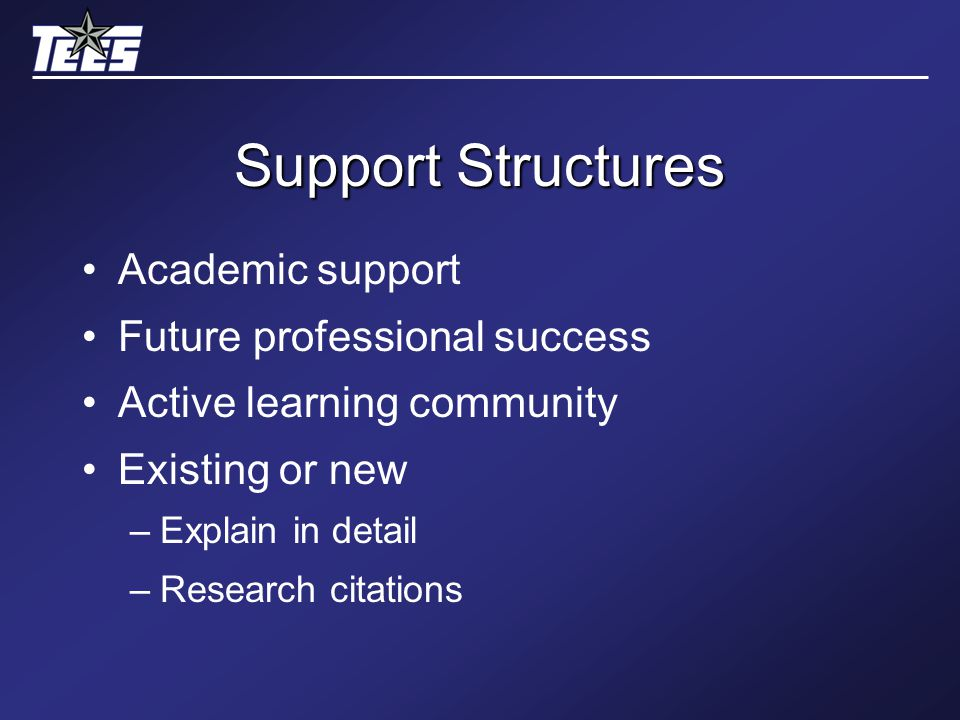 Support Structures Academic support Future professional success Active learning community Existing or new –Explain in detail –Research citations