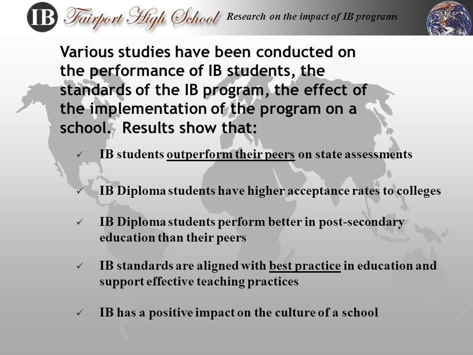 Rigor n Newsweek Challenge Index: School Rankings (Top ten) 7 out of 10 Schools were IB schools.