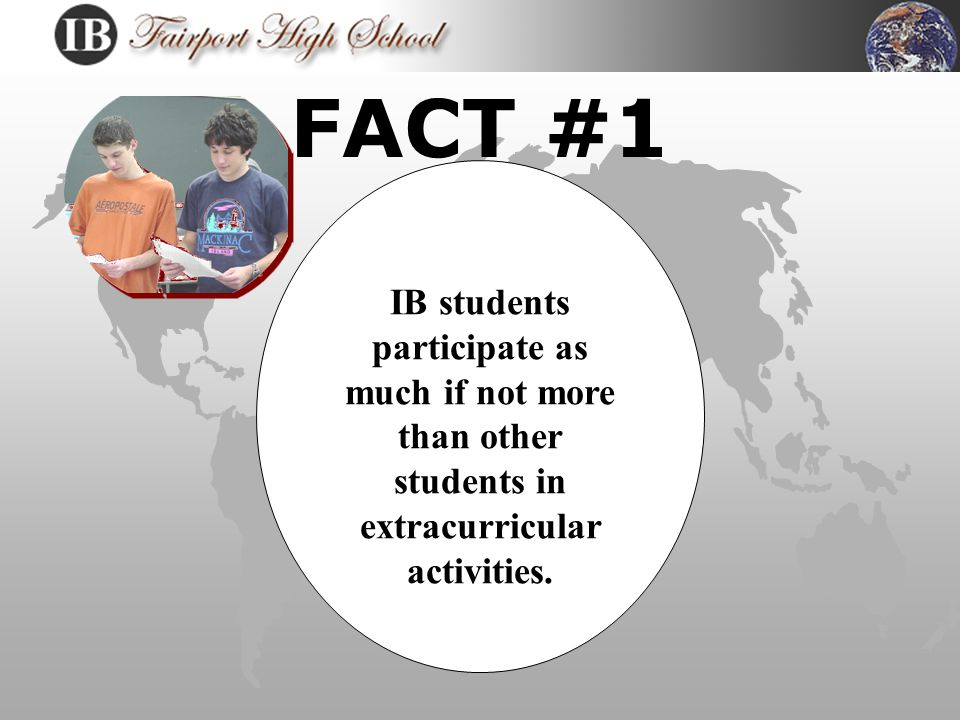 MYTH #1 IB students have no life.