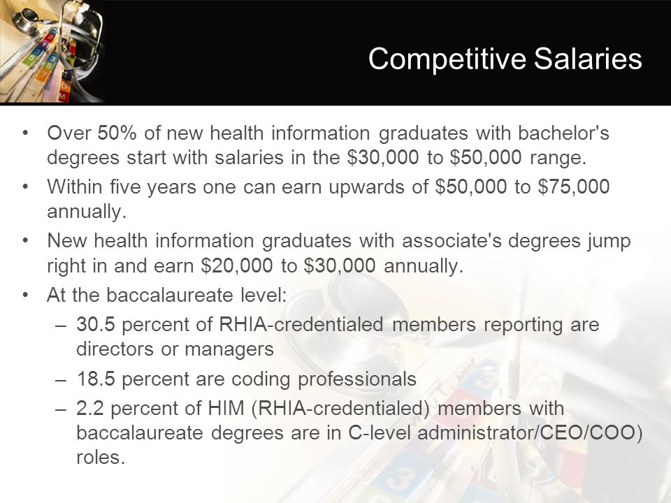Competitive Salaries Over 50% of new health information graduates with bachelor s degrees start with salaries in the $30,000 to $50,000 range.
