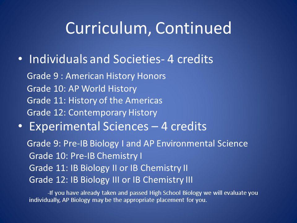 Curriculum, Continued Individuals and Societies- 4 credits Grade 9 : American History Honors Grade 10: AP World History Grade 11: History of the Ameri