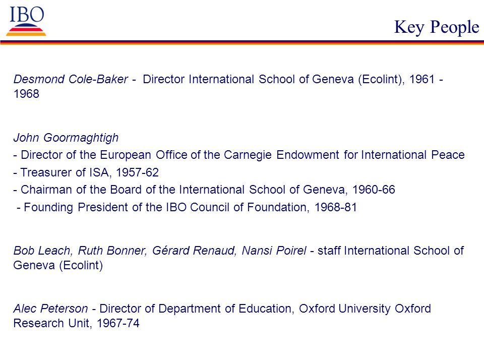 Key People Desmond Cole-Baker - Director International School of Geneva (Ecolint), 1961 - 1968 John Goormaghtigh - Director of the European Office of