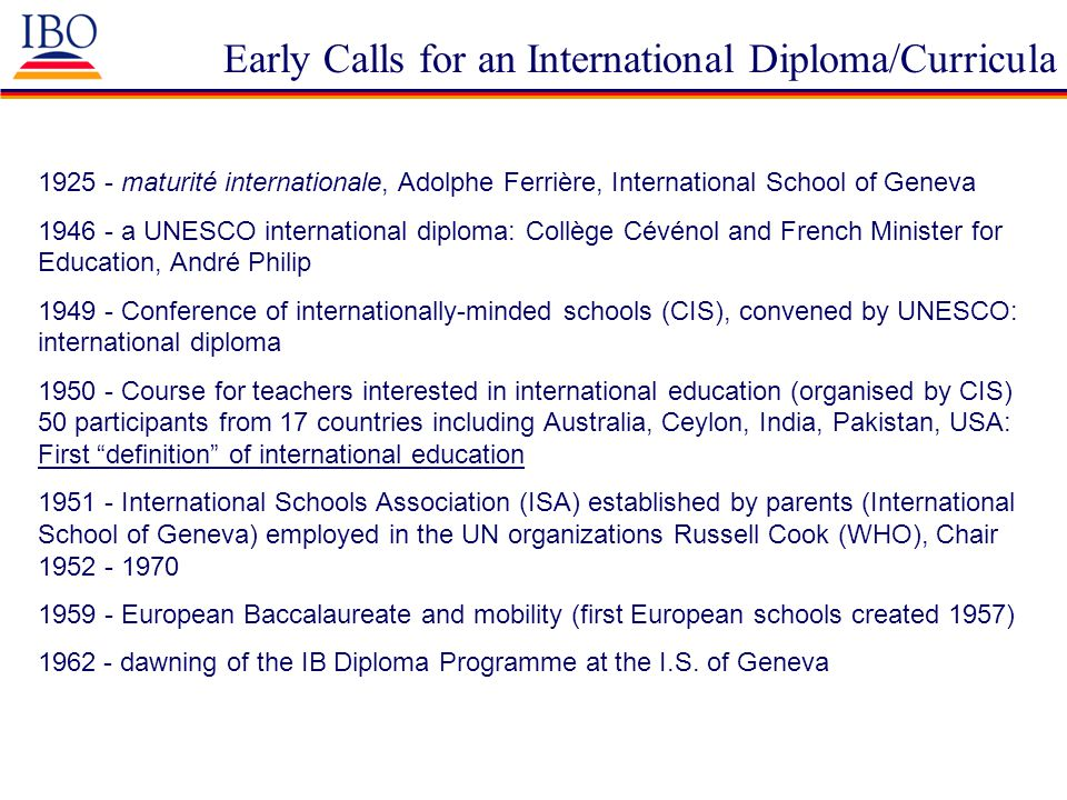 Early Calls for an International Diploma/Curricula 1925 - maturité internationale, Adolphe Ferrière, International School of Geneva 1946 - a UNESCO in