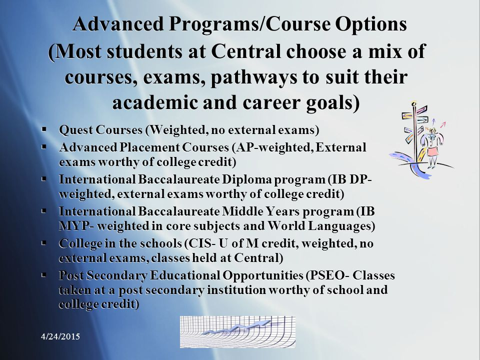 Advanced Programs/Course Options (Most students at Central choose a mix of courses, exams, pathways to suit their academic and career goals)  Quest Courses (Weighted, no external exams)  Advanced Placement Courses (AP-weighted, External exams worthy of college credit)  International Baccalaureate Diploma program (IB DP- weighted, external exams worthy of college credit)  International Baccalaureate Middle Years program (IB MYP- weighted in core subjects and World Languages)  College in the schools (CIS- U of M credit, weighted, no external exams, classes held at Central)  Post Secondary Educational Opportunities (PSEO- Classes taken at a post secondary institution worthy of school and college credit)  Quest Courses (Weighted, no external exams)  Advanced Placement Courses (AP-weighted, External exams worthy of college credit)  International Baccalaureate Diploma program (IB DP- weighted, external exams worthy of college credit)  International Baccalaureate Middle Years program (IB MYP- weighted in core subjects and World Languages)  College in the schools (CIS- U of M credit, weighted, no external exams, classes held at Central)  Post Secondary Educational Opportunities (PSEO- Classes taken at a post secondary institution worthy of school and college credit)