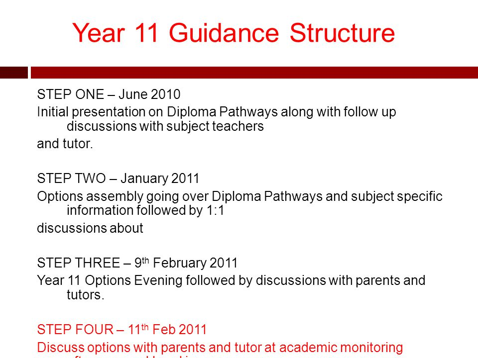 Year 11 Guidance Structure STEP ONE – June 2010 Initial presentation on Diploma Pathways along with follow up discussions with subject teachers and tutor.