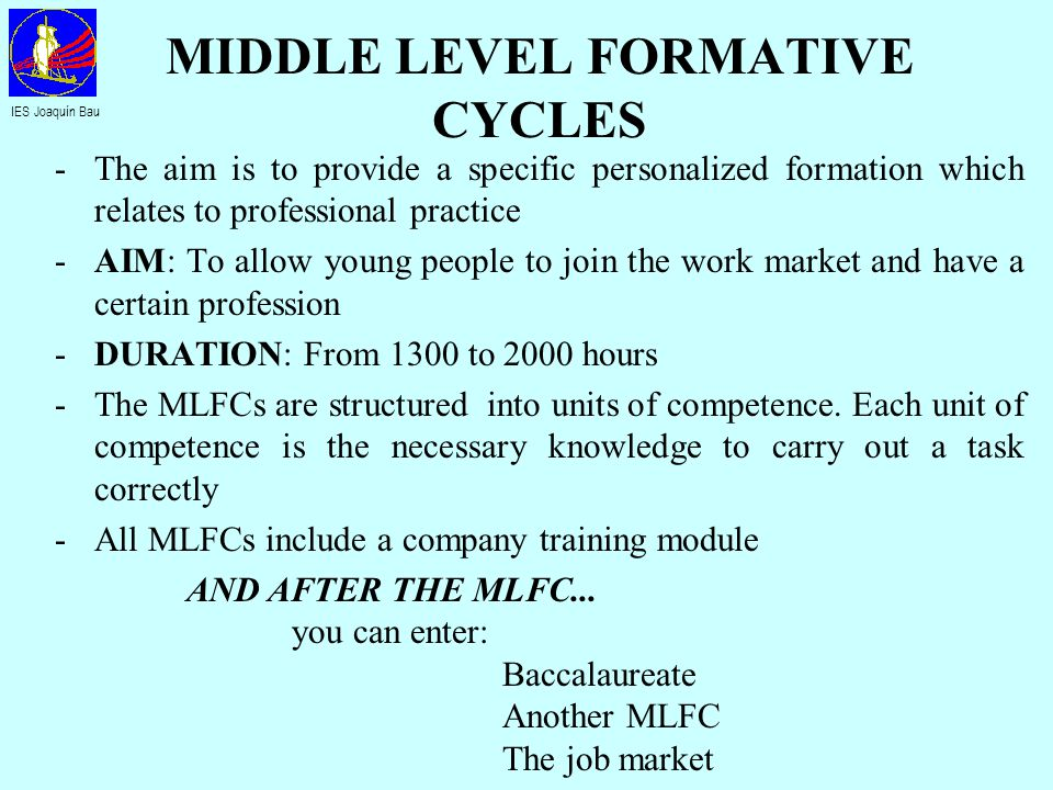 HIGHER LEVEL FORMATIVE CYCLES -The aim is to provide a specific personalized formation which relates to professional practice -AIM: To allow young people to join the work market and have a certain profession with appropriate qualifications -DURATION: From 1300 to 2000 hours -The HLFCs are structured into units of competence.