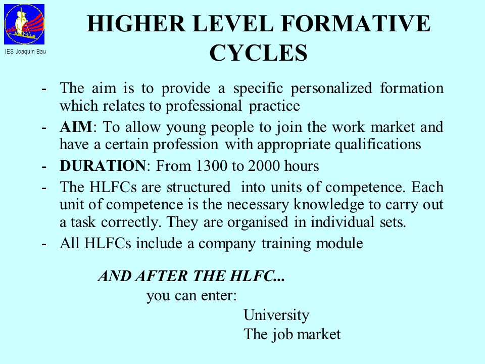 HIGHER LEVEL FORMATIVE CYCLES -The aim is to provide a specific personalized formation which relates to professional practice -AIM: To allow young peo