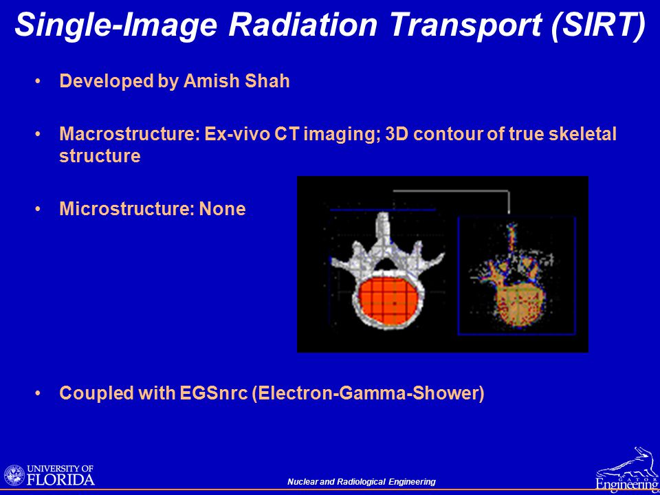 Nuclear and Radiological Engineering Single-Image Radiation Transport (SIRT) Developed by Amish Shah Macrostructure: Ex-vivo CT imaging; 3D contour of true skeletal structure Microstructure: None Coupled with EGSnrc (Electron-Gamma-Shower)