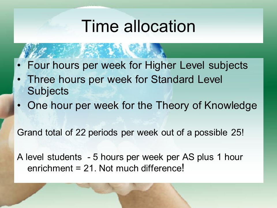 Time allocation Four hours per week for Higher Level subjects Three hours per week for Standard Level Subjects One hour per week for the Theory of Knowledge Grand total of 22 periods per week out of a possible 25.