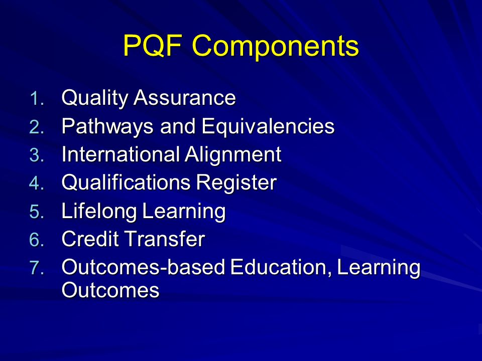 PQF Components 1. Quality Assurance 2. Pathways and Equivalencies 3. International Alignment 4. Qualifications Register 5. Lifelong Learning 6. Credit