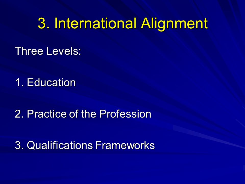 3. International Alignment Three Levels: 1. Education 2. Practice of the Profession 3. Qualifications Frameworks