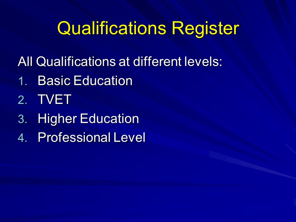 Qualifications Register All Qualifications at different levels: 1. Basic Education 2. TVET 3. Higher Education 4. Professional Level