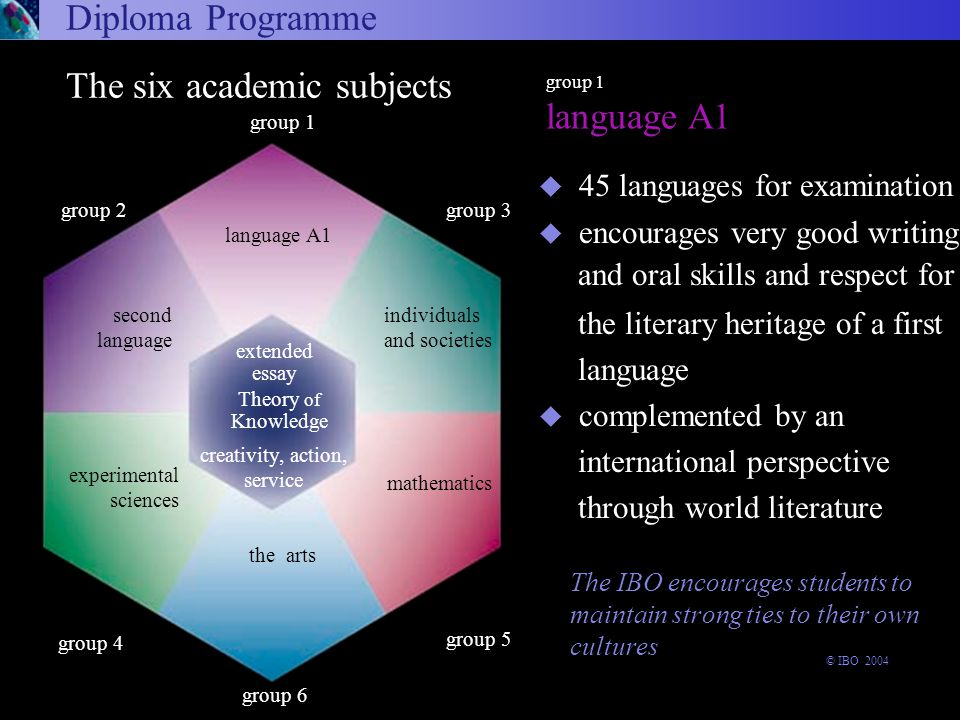 The IBO encourages students to maintain strong ties to their own cultures u 45 languages for examination u encourages very good writing and oral skills and respect for the literary heritage of a first language u complemented by an international perspective through world literature Arts and Electives Diploma Programme group 1 language A1 arts and electives group 6 experimental sciences The six academic subjects Theory of Knowledge the arts group 1 language A1 extended essay group 3 group 5 group 2 second language creativity, action, service individuals and societies mathematics group 4 © IBO 2004