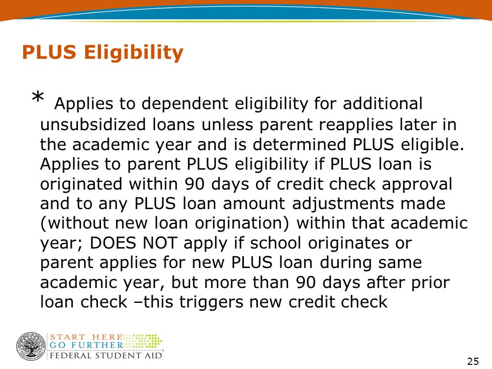 PLUS Eligibility * Applies to dependent eligibility for additional unsubsidized loans unless parent reapplies later in the academic year and is determined PLUS eligible.