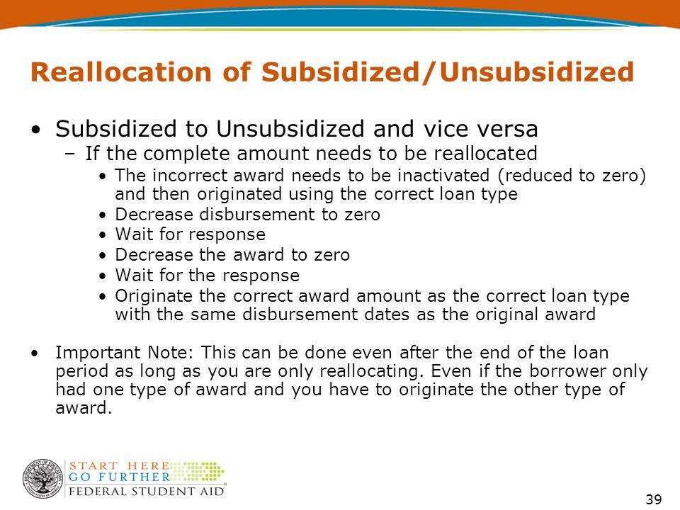 39 Reallocation of Subsidized/Unsubsidized Subsidized to Unsubsidized and vice versa –If the complete amount needs to be reallocated The incorrect award needs to be inactivated (reduced to zero) and then originated using the correct loan type Decrease disbursement to zero Wait for response Decrease the award to zero Wait for the response Originate the correct award amount as the correct loan type with the same disbursement dates as the original award Important Note: This can be done even after the end of the loan period as long as you are only reallocating.