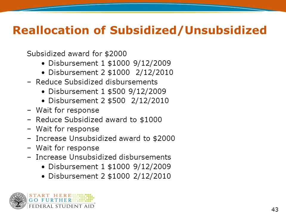 43 Reallocation of Subsidized/Unsubsidized Subsidized award for $2000 Disbursement 1 $1000 9/12/2009 Disbursement 2 $1000 2/12/2010 –Reduce Subsidized disbursements Disbursement 1 $500 9/12/2009 Disbursement 2 $500 2/12/2010 –Wait for response –Reduce Subsidized award to $1000 –Wait for response –Increase Unsubsidized award to $2000 –Wait for response –Increase Unsubsidized disbursements Disbursement 1 $1000 9/12/2009 Disbursement 2 $1000 2/12/2010