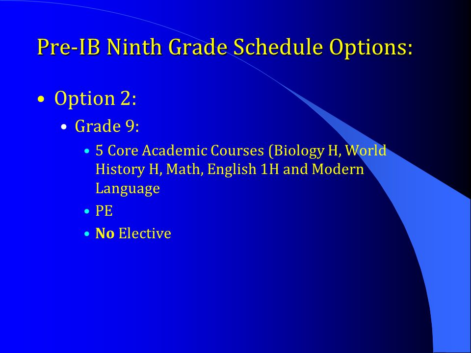 Pre-IB Ninth Grade Schedule Options: Option 2: Grade 9: 5 Core Academic Courses (Biology H, World History H, Math, English 1H and Modern Language PE N
