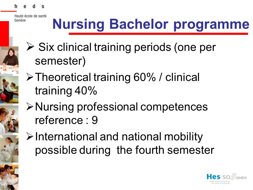 Nursing Bachelor programme  Six clinical training periods (one per semester)  Theoretical training 60% / clinical training 40%  Nursing professiona