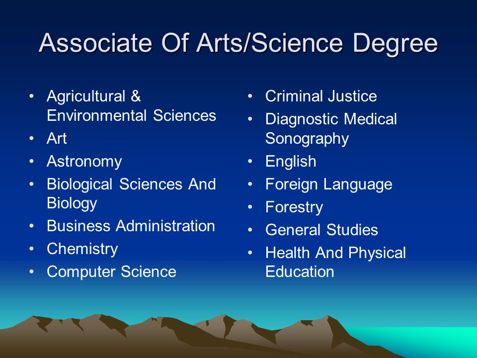 Associate Of Arts/Science Degree Agricultural & Environmental Sciences Art Astronomy Biological Sciences And Biology Business Administration Chemistry Computer Science Criminal Justice Diagnostic Medical Sonography English Foreign Language Forestry General Studies Health And Physical Education