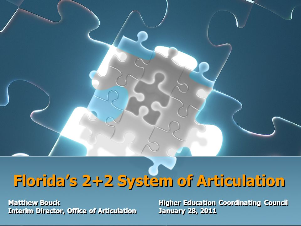 Florida's 2+2 System of Articulation Matthew BouckHigher Education Coordinating Council Interim Director, Office of ArticulationJanuary 28, 2011 Matthew BouckHigher Education Coordinating Council Interim Director, Office of ArticulationJanuary 28, 2011