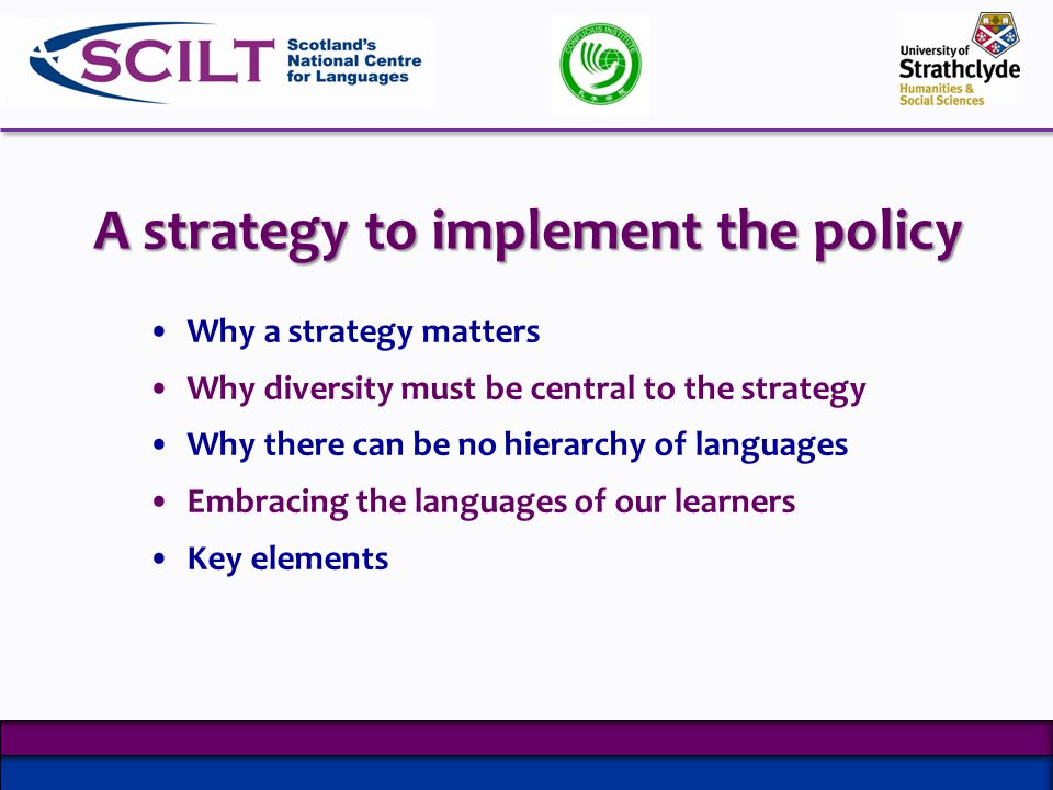 Why a strategy matters Why diversity must be central to the strategy Why there can be no hierarchy of languages Embracing the languages of our learners Key elements A strategy to implement the policy