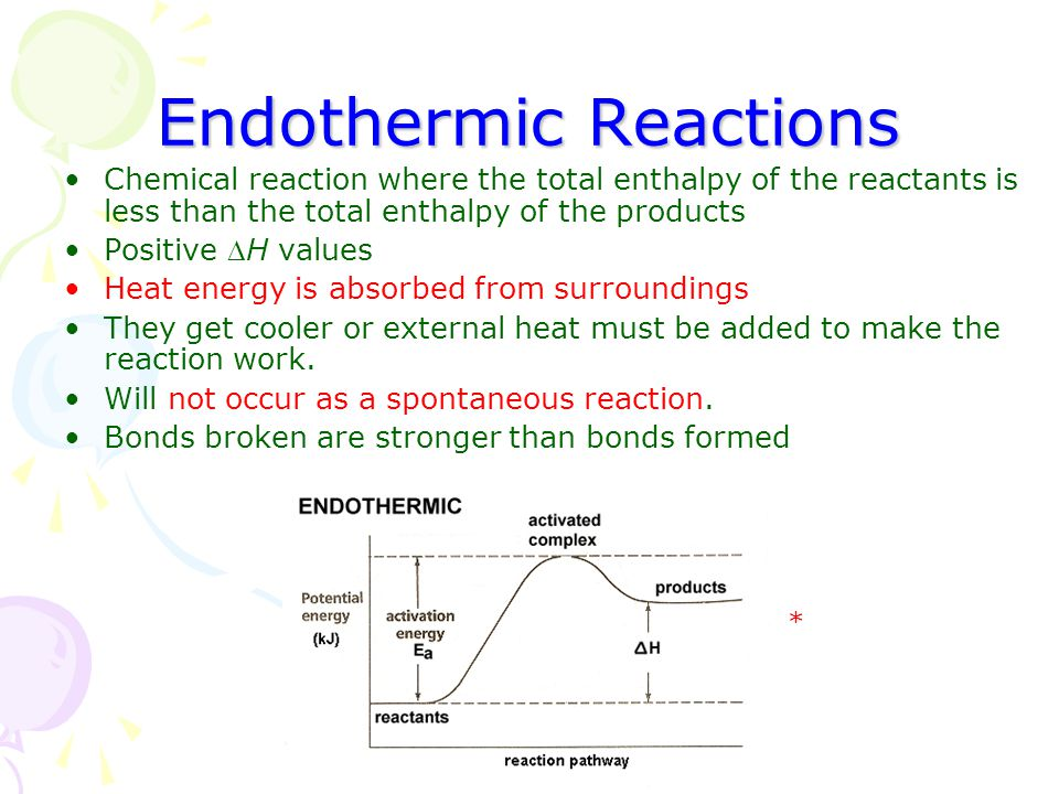 Endothermic Reactions Chemical reaction where the total enthalpy of the reactants is less than the total enthalpy of the products Positive H values H