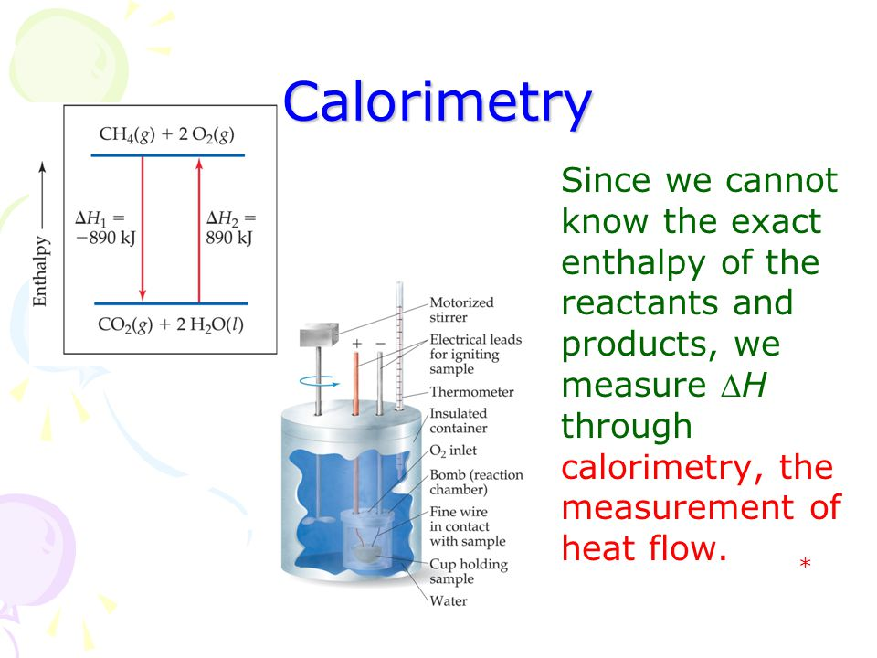 Calorimetry Since we cannot know the exact enthalpy of the reactants and products, we measure H through calorimetry, the measurement of heat flow. *