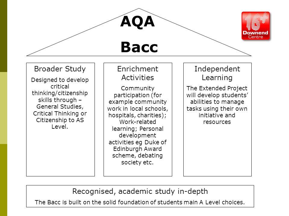 AQA Bacc Broader Study Designed to develop critical thinking/citizenship skills through – General Studies, Critical Thinking or Citizenship to AS Leve