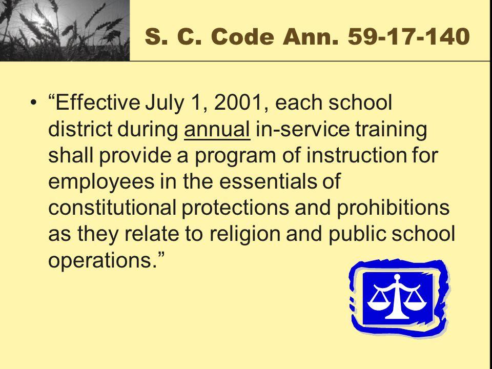 15.Establishment of Religion State law, S. C. Code Ann.