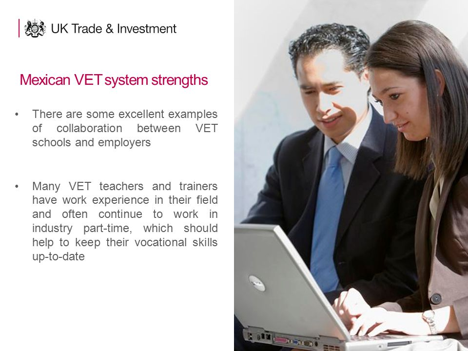 15 Mexican VET system strengths There are some excellent examples of collaboration between VET schools and employers Many VET teachers and trainers have work experience in their field and often continue to work in industry part-time, which should help to keep their vocational skills up-to-date