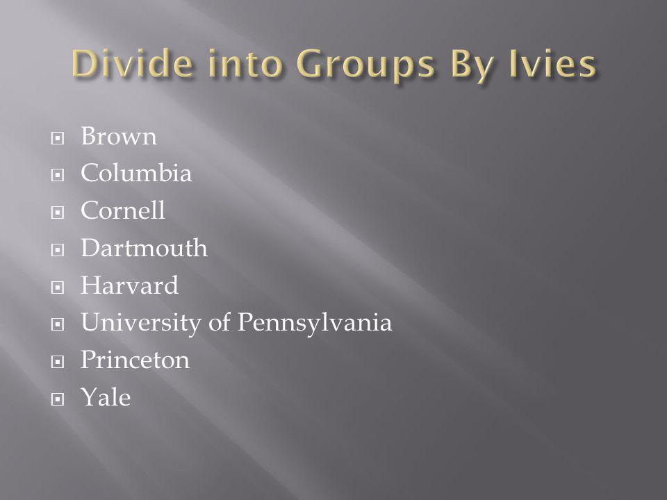  Brown  Columbia  Cornell  Dartmouth  Harvard  University of Pennsylvania  Princeton  Yale