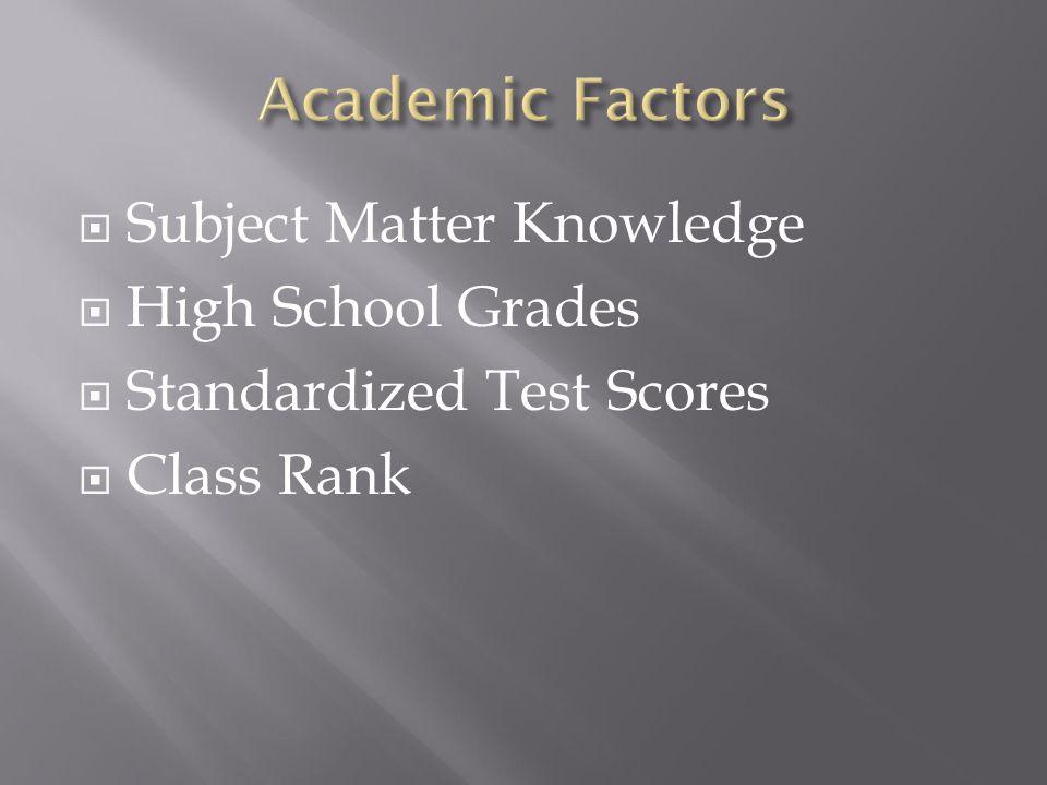  Subject Matter Knowledge  High School Grades  Standardized Test Scores  Class Rank