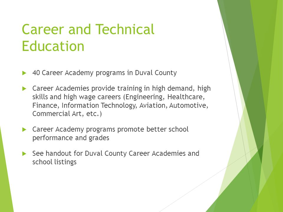Career and Technical Education  40 Career Academy programs in Duval County  Career Academies provide training in high demand, high skills and high wage careers (Engineering, Healthcare, Finance, Information Technology, Aviation, Automotive, Commercial Art, etc.)  Career Academy programs promote better school performance and grades  See handout for Duval County Career Academies and school listings