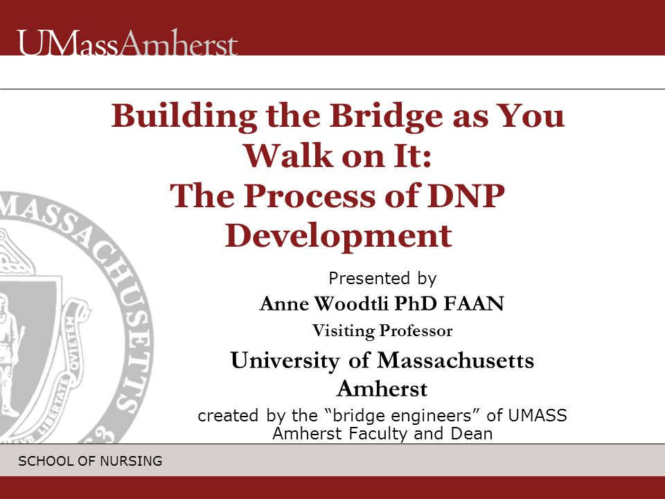 SCHOOL OF NURSING Presented by Anne Woodtli PhD FAAN Visiting Professor University of Massachusetts Amherst created by the bridge engineers of UMASS Amherst Faculty and Dean Building the Bridge as You Walk on It: The Process of DNP Development