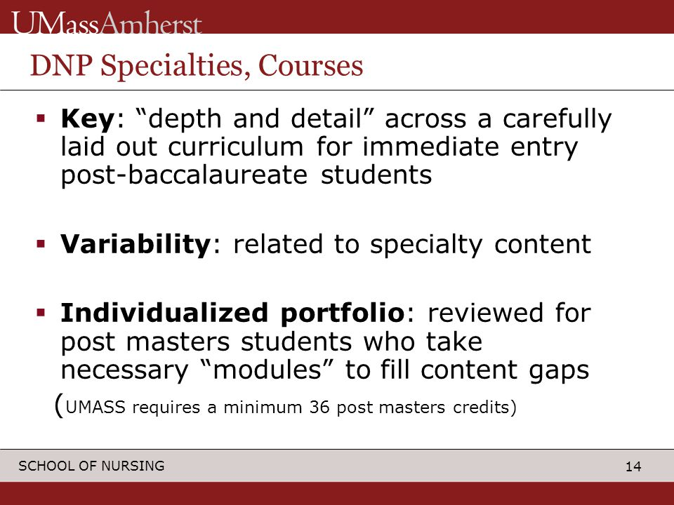 14 SCHOOL OF NURSING DNP Specialties, Courses  Key: depth and detail across a carefully laid out curriculum for immediate entry post-baccalaureate students  Variability: related to specialty content  Individualized portfolio: reviewed for post masters students who take necessary modules to fill content gaps ( UMASS requires a minimum 36 post masters credits)