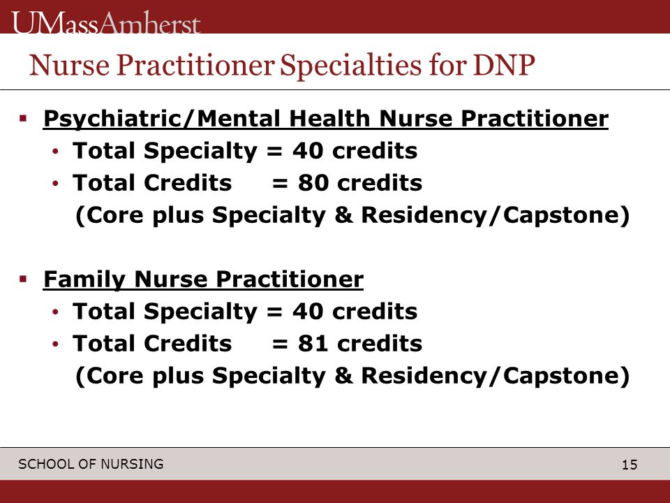 15 SCHOOL OF NURSING Nurse Practitioner Specialties for DNP  Psychiatric/Mental Health Nurse Practitioner Total Specialty = 40 credits Total Credits = 80 credits (Core plus Specialty & Residency/Capstone)  Family Nurse Practitioner Total Specialty = 40 credits Total Credits = 81 credits (Core plus Specialty & Residency/Capstone)