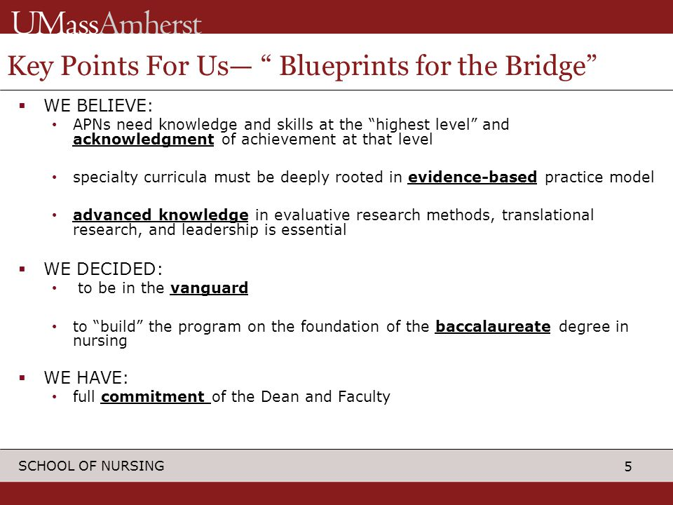 5 SCHOOL OF NURSING Key Points For Us— Blueprints for the Bridge  WE BELIEVE: APNs need knowledge and skills at the highest level and acknowledgment of achievement at that level specialty curricula must be deeply rooted in evidence-based practice model advanced knowledge in evaluative research methods, translational research, and leadership is essential  WE DECIDED: to be in the vanguard to build the program on the foundation of the baccalaureate degree in nursing  WE HAVE: full commitment of the Dean and Faculty