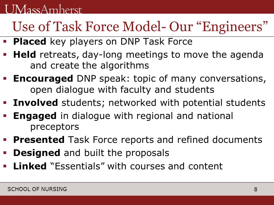 8 SCHOOL OF NURSING Use of Task Force Model- Our Engineers  Placed key players on DNP Task Force  Held retreats, day-long meetings to move the agenda and create the algorithms  Encouraged DNP speak: topic of many conversations, open dialogue with faculty and students  Involved students; networked with potential students  Engaged in dialogue with regional and national preceptors  Presented Task Force reports and refined documents  Designed and built the proposals  Linked Essentials with courses and content