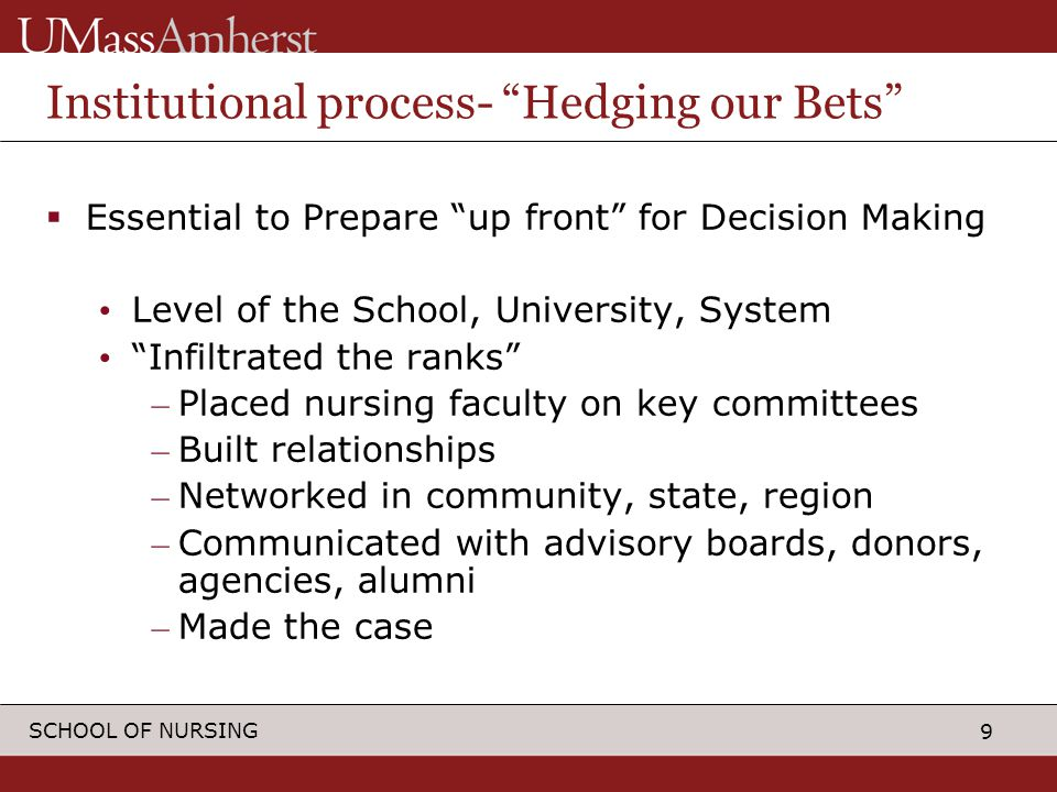 9 SCHOOL OF NURSING Institutional process- Hedging our Bets  Essential to Prepare up front for Decision Making Level of the School, University, System Infiltrated the ranks – Placed nursing faculty on key committees – Built relationships – Networked in community, state, region – Communicated with advisory boards, donors, agencies, alumni – Made the case