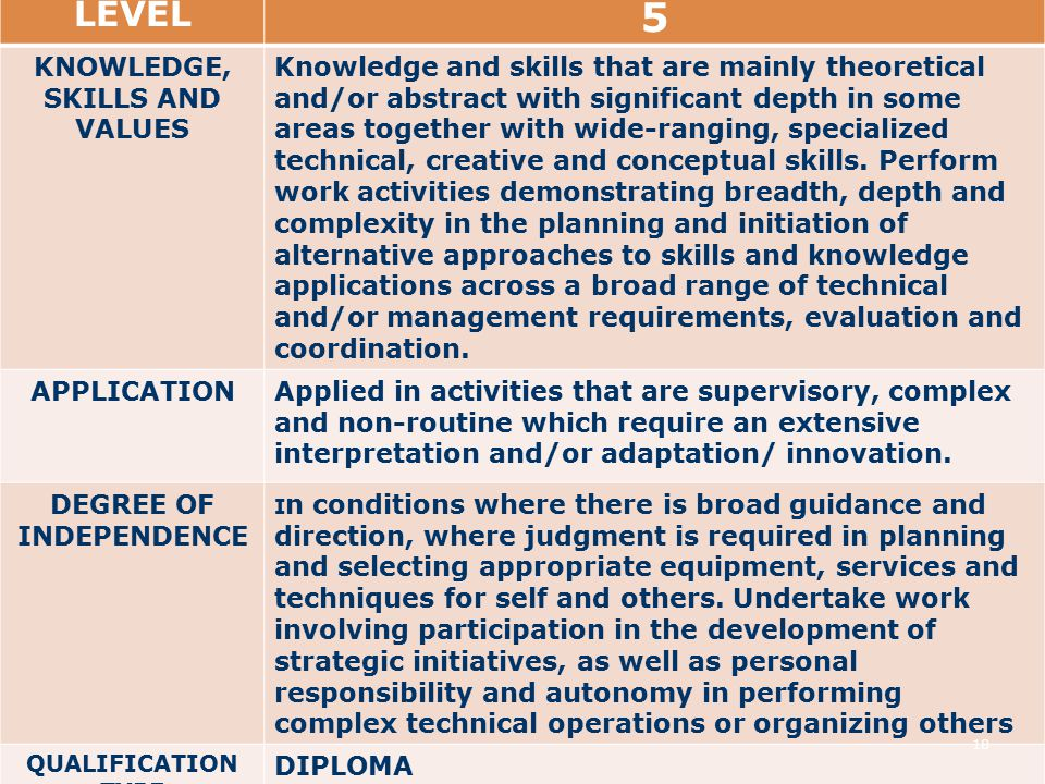 LEVEL 5 KNOWLEDGE, SKILLS AND VALUES Knowledge and skills that are mainly theoretical and/or abstract with significant depth in some areas together with wide-ranging, specialized technical, creative and conceptual skills.