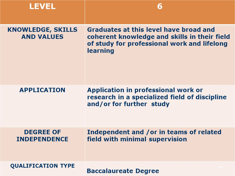 LEVEL6 KNOWLEDGE, SKILLS AND VALUES Graduates at this level have broad and coherent knowledge and skills in their field of study for professional work and lifelong learning APPLICATIONApplication in professional work or research in a specialized field of discipline and/or for further study DEGREE OF INDEPENDENCE Independent and /or in teams of related field with minimal supervision QUALIFICATION TYPE Baccalaureate Degree 19