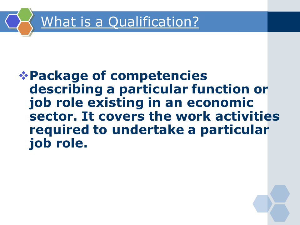  Package of competencies describing a particular function or job role existing in an economic sector.