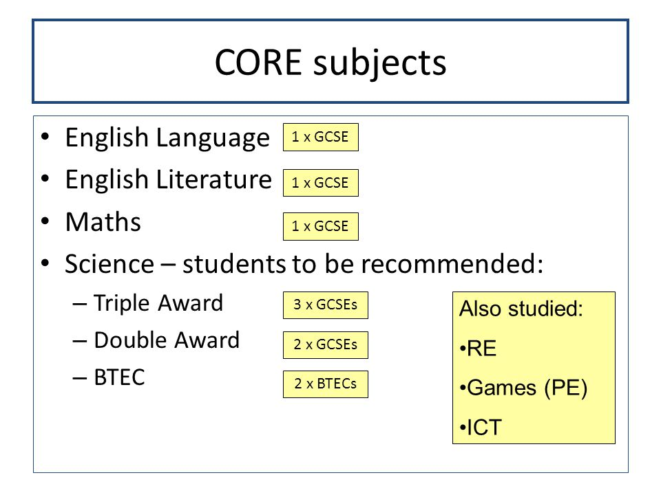 CORE subjects English Language English Literature Maths Science – students to be recommended: – Triple Award – Double Award – BTEC 1 x GCSE 3 x GCSEs 2 x GCSEs 2 x BTECs Also studied: RE Games (PE) ICT