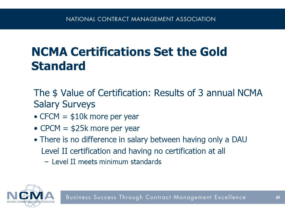 NCMA Certifications Set the Gold Standard The $ Value of Certification: Results of 3 annual NCMA Salary Surveys CFCM = $10k more per year CPCM = $25k more per year There is no difference in salary between having only a DAU Level II certification and having no certification at all –Level II meets minimum standards 20