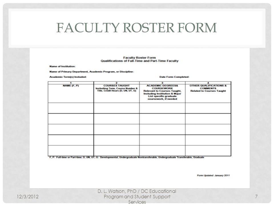 FACULTY ROSTER FORM 12/3/2012 D. L.