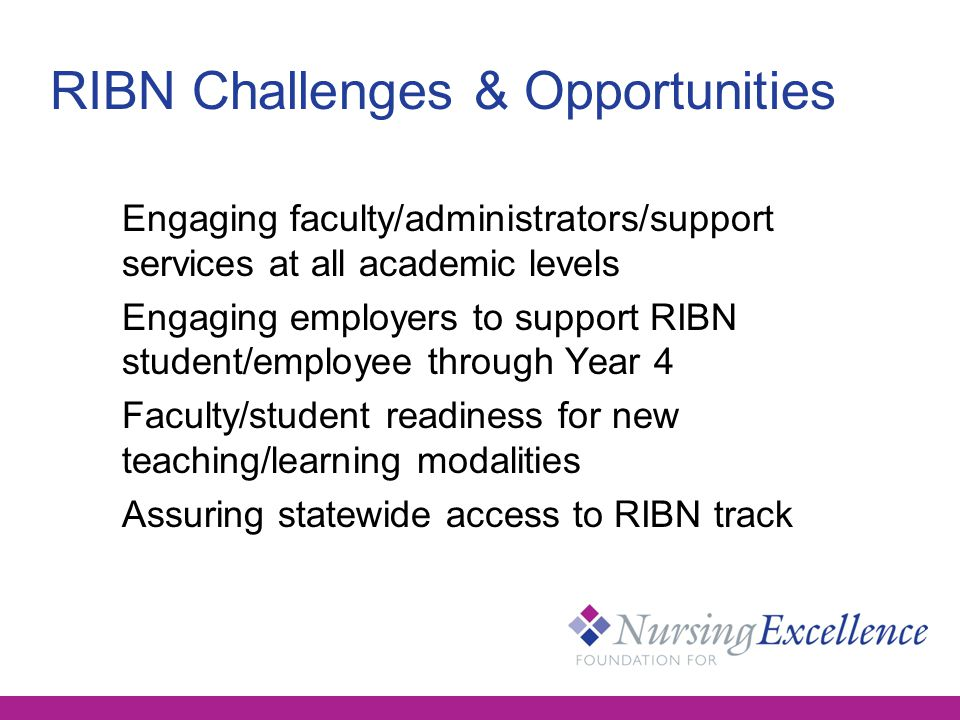 RIBN Challenges & Opportunities Engaging faculty/administrators/support services at all academic levels Engaging employers to support RIBN student/employee through Year 4 Faculty/student readiness for new teaching/learning modalities Assuring statewide access to RIBN track
