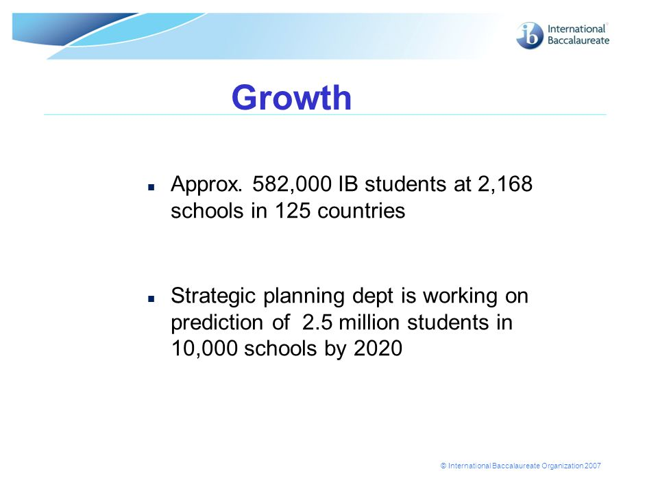 © International Baccalaureate Organization 2007 Growth n Approx.