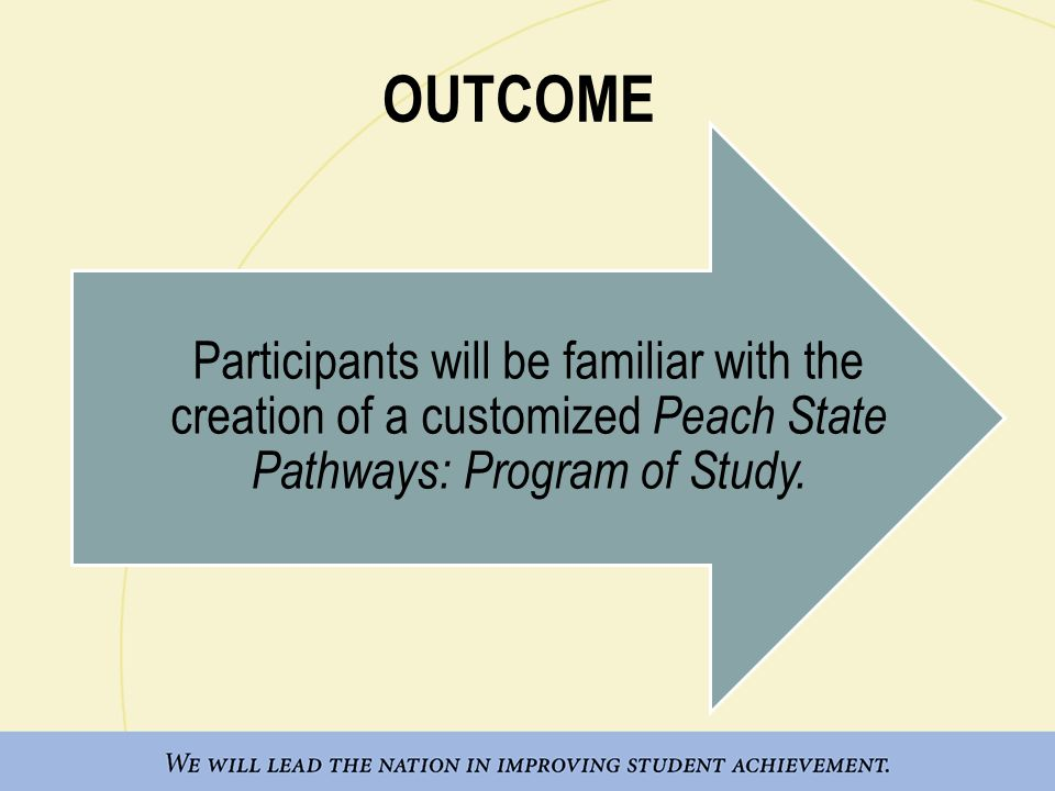 OUTCOME Participants will be familiar with the creation of a customized Peach State Pathways: Program of Study.
